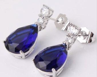 Sapphire 18k white gold filled wedding pear dangle earring