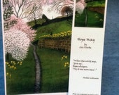 """Card & bookmark - """"Hope Way"""" - spring card with matching bookmark, inspirational quote, get well card, from a painting by Liz Clarke"""