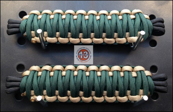 Paracord Jeep Door Straps: Paracord Jeep Door Retaining Straps Forest Green/Tan Ready To