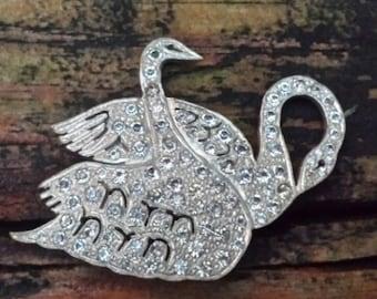 Rhinestone Brooch, Pin, Double Swan, Wedding, Bonded Pair for Life