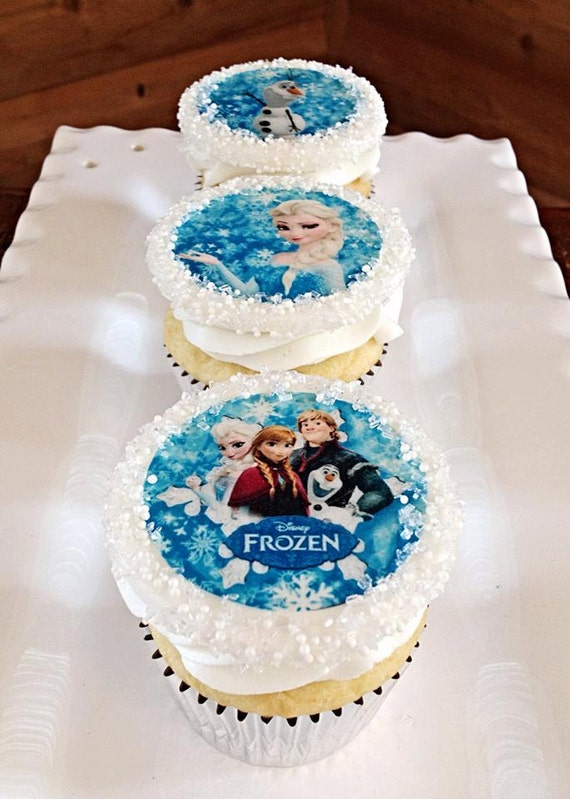 Edible Cake Pictures Frozen : 12 FROZEN Cupcake Toppers Edible Image toppers for by ...