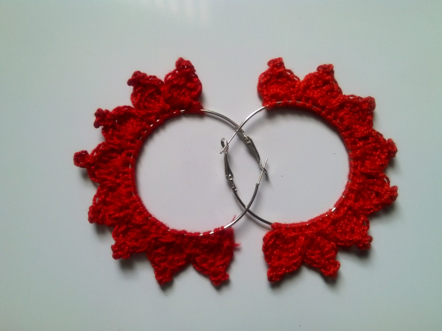 triangle crochet hoop earring by yuphandcrafted on etsy