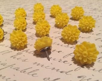 Cute Yellow Flower Thumbtacks - set of 15 - dorm decor, office decor, hostess gift, baby shower, wedding, bridal shower, teacher gift