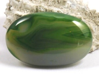 35mm Green Agate Oval Cabochon (HT)