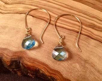 Azure Swarovski crystal gold earrings