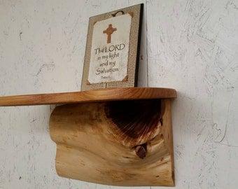 One of a kind, rustic cedar log wall shelf.
