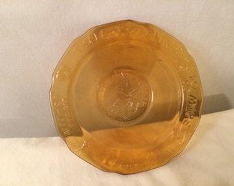Vintage Tiara Amber Childs Mother Goose Bowl
