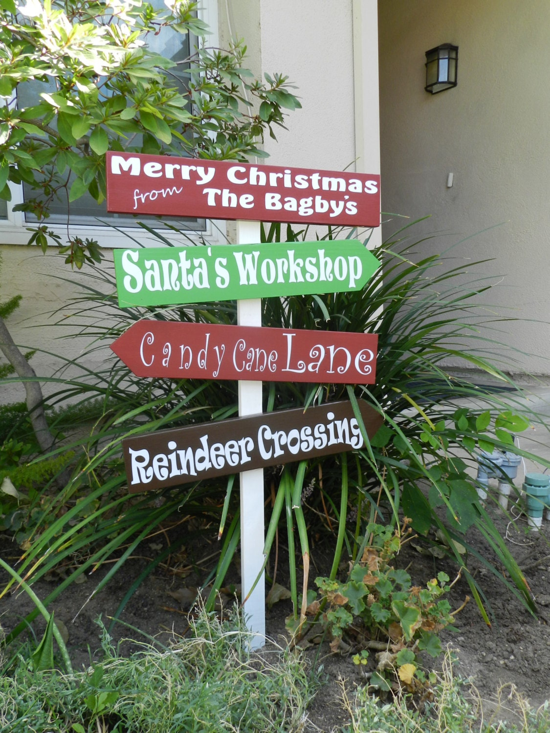Personalized christmas yard sign by vinylbysara on etsy for Outdoor christmas signs