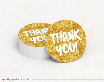 Gold glitter thank you 2in or 3in Round Sticker Label - faux gold glitter
