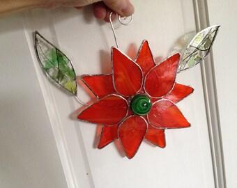 Stained Glass Flower Suncatcher, Orange