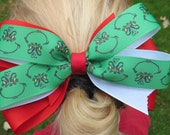 Christmas Holiday Grosgrain hair Bow with Alligator clip, red grosgrain ribbon, grinch printed ribbon, handmade hair bow, girls hair bows