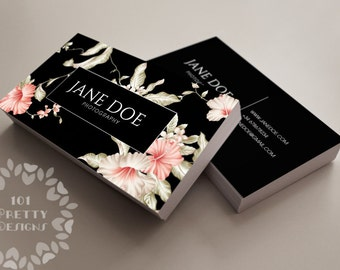Floral business card design, custom business card template, printable business card design, premade business card,  black elegant graphic