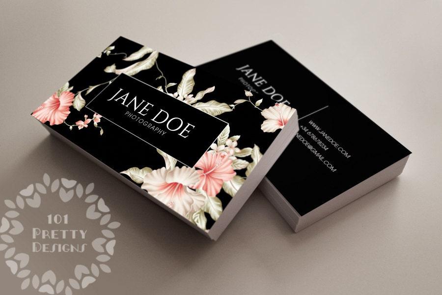 Floral business card design custom business card template