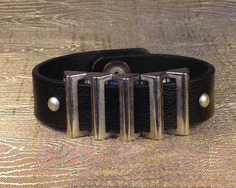 Upcycled belt cuff bracelet, leather bracelet, men's bracelet, cuff bracelet, black bracelet