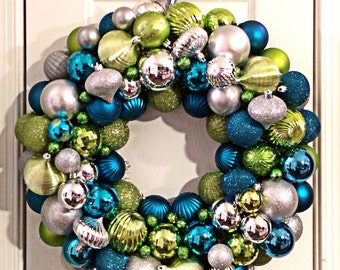 Turquoise, Silver and Green Ornament Wreath.