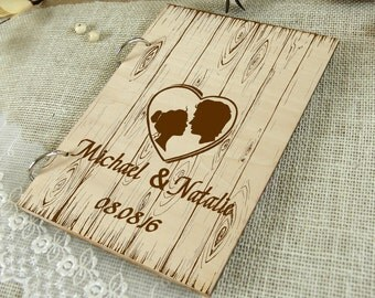 Custom Unique Wedding-Anniversary-Bridal shower guest book, Personalized gift, Memory album, Laser engraved, Rustic theme, Wedding decor.