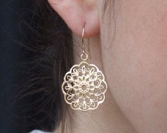 Round Flower Dangle Earrings, 14K Gold Plated, Oriental Earrings, Floral Earrings