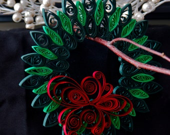 Quilled Wreath Christmas Ornament - Paper Wreath Christmas Decoration - Holiday Wreath - Home Decoration - Wreath Decoration -Christmas Tree