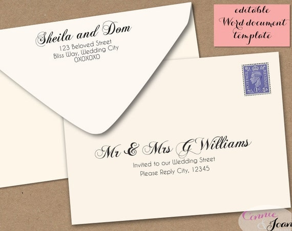 printable wedding envelope template 5x7 front and by
