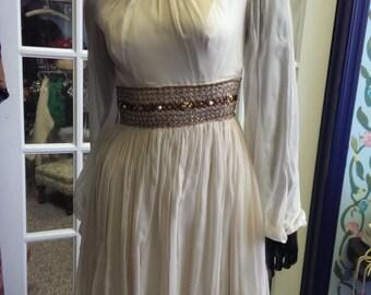 free shipping! vintage 1960 mad men dress jeweled waist qnd neckline for women.