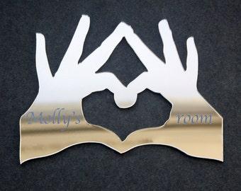 Heart Hands Acrylic Mirror
