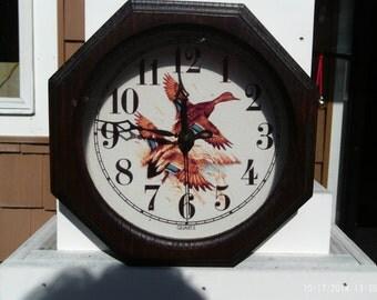 Vintage Battery Operated Wall Clock Quartz Octagon