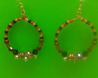 Handmade Black, Gold, Green & Red Beaded Earrings