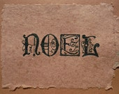 greeting card NOEL embroidered handmade paper