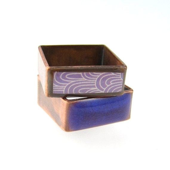 Square Rings, Resin, Origami Paper and Copper Stacking Square Rings in Purple Size 6