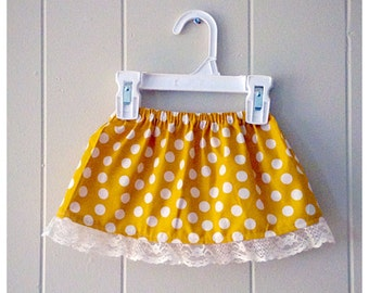 Girls skirt, fall fashion, fall skirt, family photos, photo outfit, mustard yellow, polka dots, lace, toddler fall skirt
