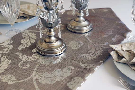 "Silver Table Runner, Silver Leaves and Floral Design on Beige, 15.5"" Wide, Choose Length"