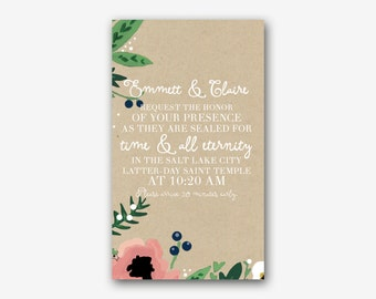 Country Floral LDS Temple Sealing Insert [DIGITAL FILE]