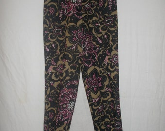 Vintage trousers 60s Floral cigar trousers pants with metallic thread size small by Laddies