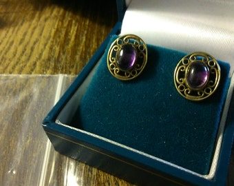 9ct gold and amethyst earrings