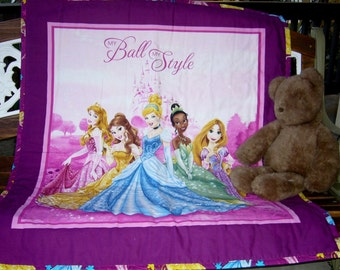 "Girls Disney Princess 36""W x 44""L Baby Crib Toddler Quilt Blanket Sleeping Beauty Belle Cinderella Tiana Rapunzel Perfect Gift Ready to Ship"