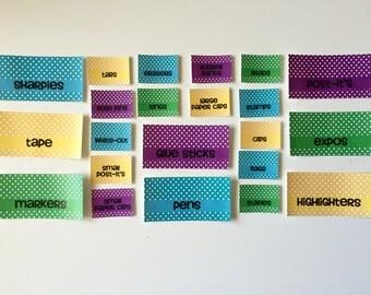 Customizable Teacher Toolbox Toolkit Classroom Supplies Labels Organizer Polka Dot Set of 22