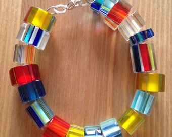 Cane glass bead bracelet
