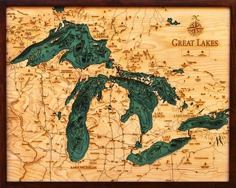 The Great Lakes (Michigan, Wisconsin, New York, Pennsylvania, Canada) - Large Wood Map,  24.5x31
