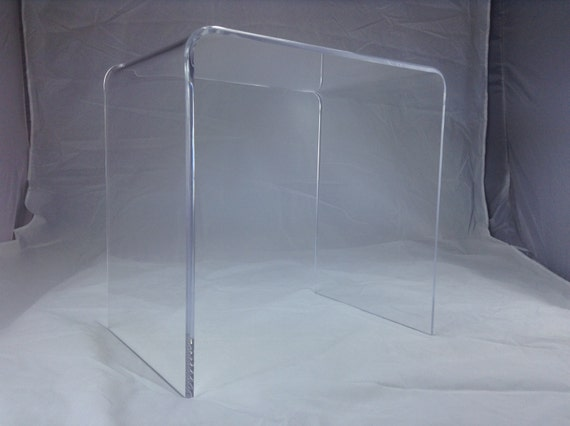 Clear 1 2 thick acrylic lucite beveled edge console for Small acrylic console table