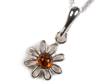 Henryka Amber & Silver Open Posy Flower Necklace
