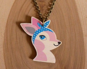 Wooden Rockabilly Deer Necklace