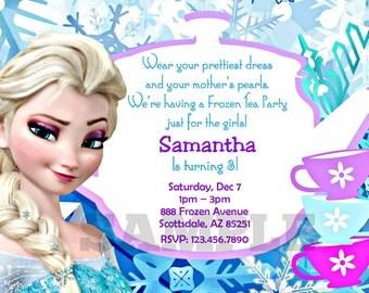 Frozen Invitation - Printable Frozen Tea Party Inspired Invitation - Digital Invite - Frozen Birthday Party - Elsa Anna Olaf Personalized