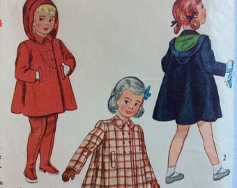 Simplicity 2578 girl's coat, hat and leggings size 1 or size 4 vintage 1940's sewing pattern