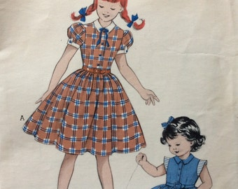 Butterick 6205 girl's one-piece dress size 10 vintage 1950's sewing pattern