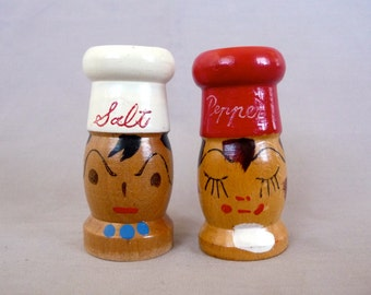 Wooden Man and Woman Chef Salt and Pepper Shakers
