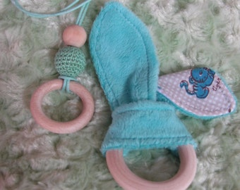 Portage necklace and ring teether bunny ears