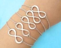 Set of 1-10, Infinity, Silver, Bracelet, Anklet, Sets, Set, Jewelry, Basic, Infinity, Jewelry, Wedding, Friendship, Bridesmaid, Gift