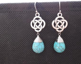 Turquoise, Celtic, Knot, Earrings