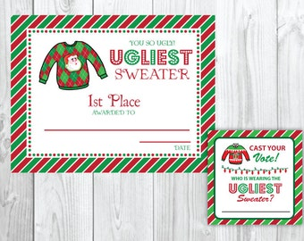 Ugly Sweater Christmas Party Voting Cards & Awards | Tacky Christmas Party