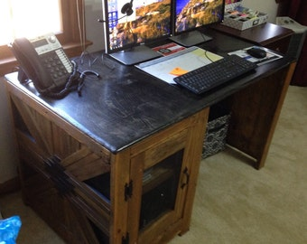 Rustic handmade desk or nightstand made from reclaimed wood